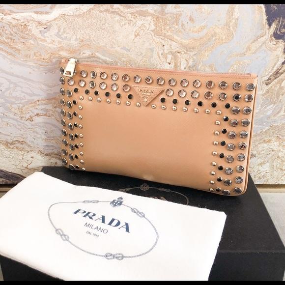 17c23653c7fa Prada Bags | Vernice Saffiano Crystal Studded Clutch | Poshmark